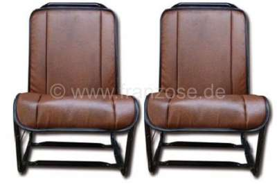 Citroen-2CV 2CV, Covering front seat, open sides (2 pieces). Material: Vinyl brown, smooth surface (Sk