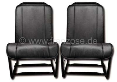 Citroen-2CV 2CV, Covering front seat, open sides (2 pieces). Material: Vinyl black, smooth surface (Sk