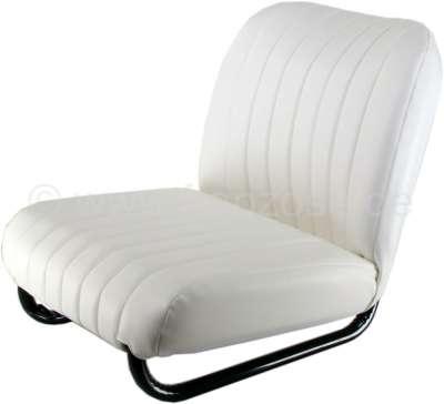Citroen-2CV Seat on the left completely, vinyl white (new part). Suitable for Citroen Mehari.