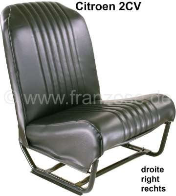 Citroen-2CV Seat on the right completely (symetric), vinyl black (new part). Design: the upperflat is