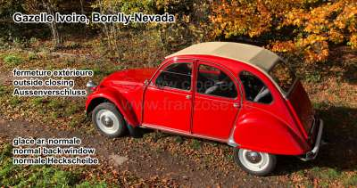 Citroen-2CV Soft top hood, beige, similar to 1002, (Gazelle-Ivoire,Borelly-Nevada), outside closing fo