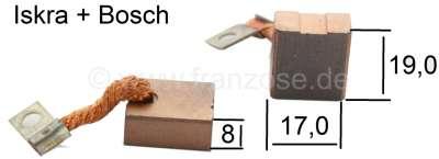 Citroen-2CV Starter brushes, Citroen 2CV6 + 2CV4. Suitable for starter motor manufacturer Iskra + Bosc