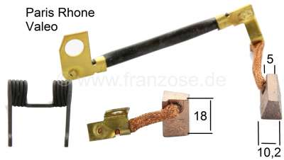Citroen-2CV Starter brushes, for Paris Rhone/Valeo (D6RA) starter motor. Small version. Suitable for C
