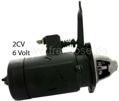 Citroen-2CV Starter motor 2CV old, 6 V, old version with Bowden cable. The starter button lever indica