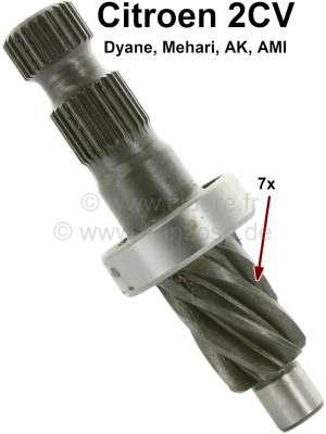 Citroen-2CV Steering worm of 7 teeth, inclusive bearing, for Citroen 2CV. Splines (worm gears) are con