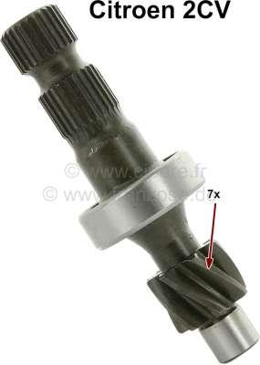 Citroen-2CV Steering worm of 7 teeth, inclusive bearing, for Citroen 2CV. First version. Splines (worm