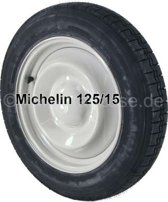 Citroen-2CV Tire mounts on a new rim, 125/15. Manufacturer Michelin. We use only our own, series-ident