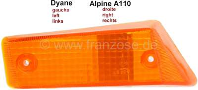 Citroen-2CV Turn signal cap in front on the left, orange. Suitable for Citroen Dyane, Acadyane, Mehari