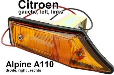 Citroen-2CV Indicator completely in front on the left, orange. Suitable for Citroen Dyane, Acadyane, M