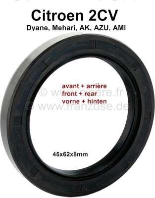 Citroen-2CV Wheel bearing shaft seal for Citroen 2CV, Ak, ACDY, AMI. The shaft seals are identically c