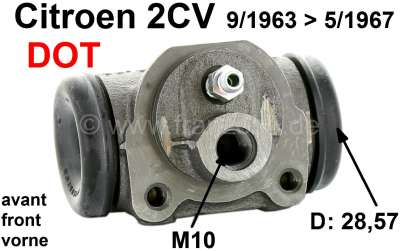 Citroen-2CV Wheel brake cylinder in front, brake system DOT. Suitable for Citroen 2CV, of year of cons