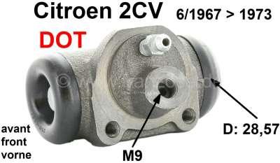Citroen-2CV Wheel brake cylinder in front, brake system DOT. Suitable for Citroen 2CV, of year of cons