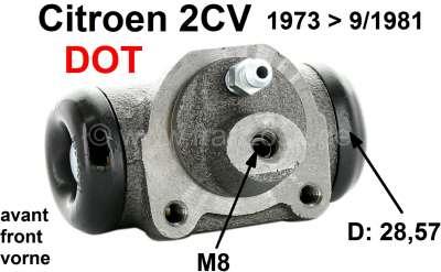 Citroen-2CV Wheel brake cylinder in front, brake system DOT. Piston diameter: 28,5mm. Brake line conne