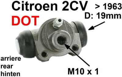 Citroen-2CV Wheel brake cylinder rear, brake system DOT. Suitable for Citroen 2CV, to year of construc