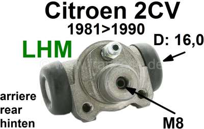 Citroen-2CV Wheel brake cylinder rear. Brake system LHM. Suitable for Citroen 2CV6, starting from year