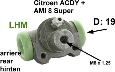 Citroen-2CV Wheel brake cylinder rear, brake system LHM. Suitable for Citroen ACDY starting from year