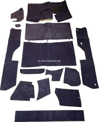 Citroen-DS-11CV-HY DS Pallas, carpet set 14 pieces, for Citroen DS Pallas. Color: dark-grey. High quality. Th