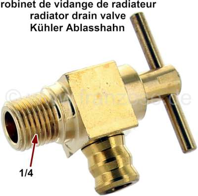 Renault Radiator drain valve (tap), completely fabricated from brass. Thread: 1/4 inch