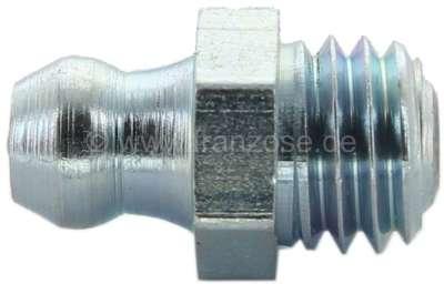 Renault Lubrication nipple M8 x 1,25. (Taper lubrication nipple H1, straight). Wrench: 9,0mm.
