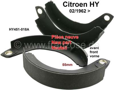 Citroen-DS-11CV-HY Brake shoes set in front (new parts). Suitable for Citroen HY, starting from year of const