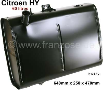 Citroen-DS-11CV-HY Fuel tank 60 liters. Suitable for Citroen HY, all years of construction. Length: 640mm. Wi