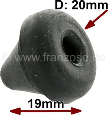 Renault Stop rubber mushroom, suitable for Citroen 11CV + universal. Diameter: 20mm. Overall heigh