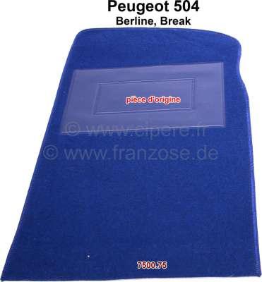 Peugeot P 504, carpet mat in front on the right. Color: blue (Bleu 2351). Original Peugeot, no rep