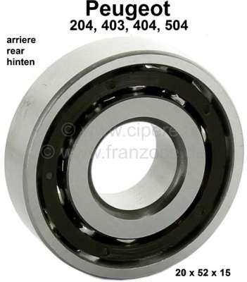 Peugeot P 204/403/404/504, wheel bearing rear (exterior bearing). Outside diameter: 52mm. Inside d