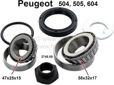 Peugeot P 504/605/505, wheel bearing set in front, suitable for Peugeot 504, 604, 505. Measurement