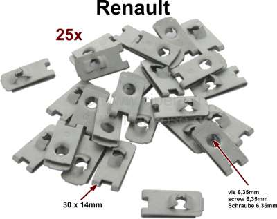 Renault 3 sheet metal nut (25 item), for the securement of the fenders. Suitable for many classica
