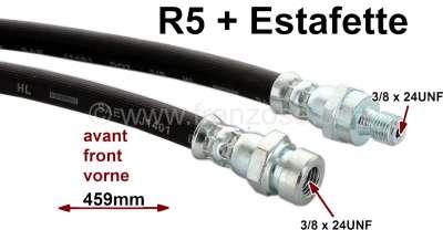 Citroen-2CV Estafette/R5, brake hose in front, suitable for Renault Etafette + R5. 459mm lengthens. Fe