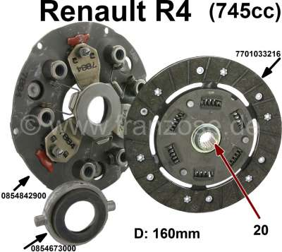 Renault Clutch completely. Suitable for Renault R4 with 745cc engine, from the seventies. Diameter