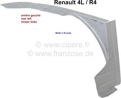 Renault R4, interior fender rear, repair sheet metal on the left. That is the outer circulating ed