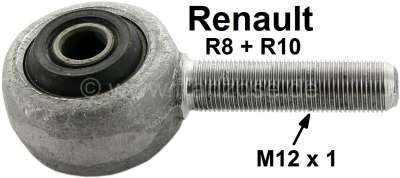 Renault R8/R10, tie rod eye (tie rod securement). Suitable for Renault R8 + R10. Thread: M12x1.