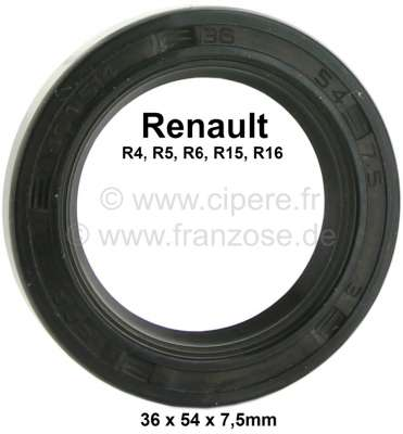Renault Shaft seal differential. Dimension: 36 x 54 x 7,5mm. Suitable for Renault 4 (final version