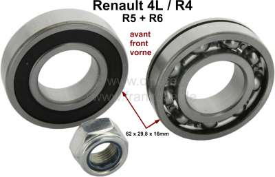 Renault Wheel bearing set for the front axle, suitable for Renault R4, R5, R6. Consisting of 2 whe