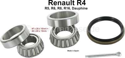 Renault Rear wheel bearing set (original equipment quality).  Suitable for Renault R4. R5, R6, R8,