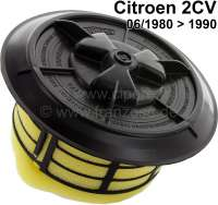 Air cleaner element 2CV6, starting from year of construction 06/1980. Completely with locking cap black. Label manufacturer! - 10004 - Der Franzose