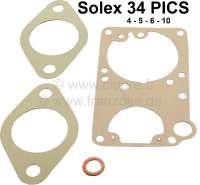 Carburetor sealing set for Citroen 2CV4 + 2CV6. Dyane 4 + Dyane 6, AZU250, AKS, Mehari. Round carburetor Solex 34 PICS 4-5-6-10. - 10128 - Der Franzose