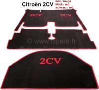 Carpet set in Velour. Color: black, red bordered (3-pieces). The carpet set covers the complete floorwell + luggage compartment. Very beautifully. Suitable for Citroen 2CV, with hanging pedals. - 18061 - Der Franzose
