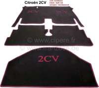 Carpet set in Velour. Color: black, bordeux (dark red) bordered (3-pieces). The carpet set covers the complete floorwell + luggage compartment. Very beautifully. Suitable for Citroen 2CV, with hanging pedals. - 18063 - Der Franzose