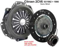 Clutch completely, for Citroen 2CV6, of year of construction 03/1982 to 1990 (disc brake in front). Dyane 6, starting from year of construction 1982. Mehari, of year of construction 4/1982 to 1990. Manufacturer: Valeo. 18 teeth, diameters: 160mm. (Multi-disk) new part. - 10080 - Der Franzose