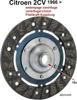 Clutch disk centrifugal clutch. Suitable for Citroen 2CV starting from year of construction 04/1966. 160mm diameter. 18 teeth. Or.Nr.AZ313-01C - 10495 - Der Franzose