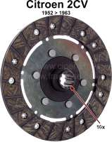 Clutch disk for 2CV, of year of construction 1952 to 1963. 10 teeth, inside diameters: 20/17mm. - 10333 - Der Franzose