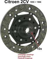 Clutch disk for 2CV, of year of construction 1955 to 1966. 10 teeth. Diameter: 160mm. Suitable for centrifugal clutch. - 10328 - Der Franzose