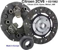 Clutch set for Citroen 2CV6 + 2CV4, of year of construction 1970 to 1982. (For vehicles with drum brake in front). Dyane of year of construction 1968 to 1982. Mehari from 1968 to 1982. The clutch set consists of: Pressure plate (3 levers) clutch disk and clutch release sleeve. Reproduction, made in Europe. Note: The clutch must be adjusted after Citroen work instruction A.312-00! - 10079 - Der Franzose