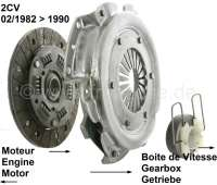 Clutch set for Citroen 2CV6, starting from 02/1982, with torsion bars. The new clutch disk with torsion bars prevents starting acceleration bucking by e.g. light axial runout of the fly wheel or pressure plate. 160mm diameter, 18 teeth. - 10496 - Der Franzose