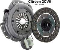 Clutch set for Citroen 2CV6, starting from year of construction 03/1982. Reproduction, Made one in European Union. 18 teeth, diameters: 160mm. (Multi-disk) new part. - 10175 - Der Franzose