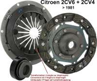 Clutch set for Citroen 2CV6+4, of year of construction 1970 to 1982. Change of three fingers pressure plate on multi-disk. Completely with clutch release sleeve. (Pressure on the pedal is lower) - 10086 - Der Franzose