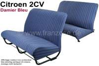 Seat bench covering 2CV, for 1 seat bench in front + 1 seat bench rear. Material: Damier Bleu (material with small squares, main color blue). The side panels are closed. Made in France. - 18795 - Der Franzose